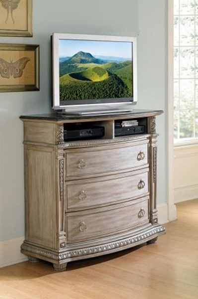 Palace II Old World Weathered White Wood Marble Top TV Chest HE-1394N-11