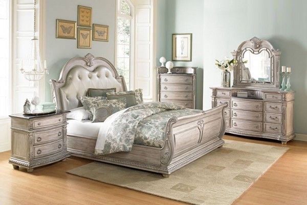 Palace II Old World White Bonded Leather Wood Master Bedroom Set HE-1394N-BR