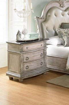 Palace II Old World Weathered White Wood Marble Top Night Stand HE-1394N-4