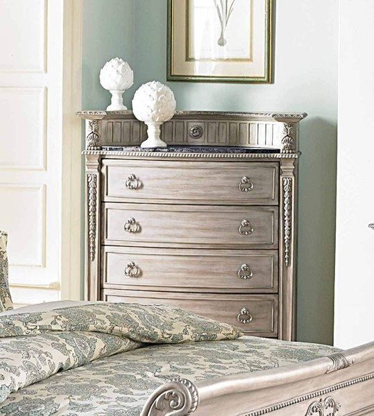 Palace II Old World Weathered White Wood Marble Top Four Drawers Chest HE-1394N-9