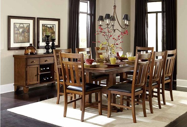 Kirtland Casual Warm Oak Wood Leather Dining Room Set HE-1399DT