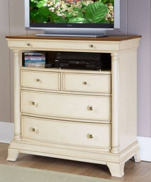 Inglewood II Traditional White Wood Four Drawers TV Chest HE-1402W-11