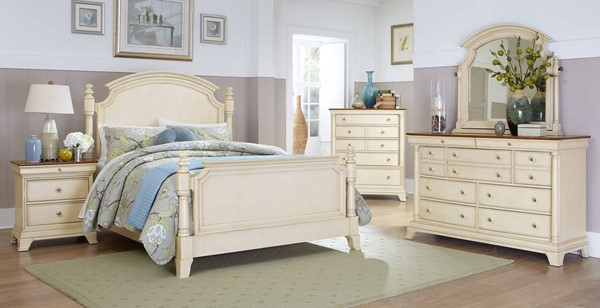 Inglewood II Traditional White Wood 2pc Bedroom Set W/Queen Panel Bed HE-1402W-1-set2