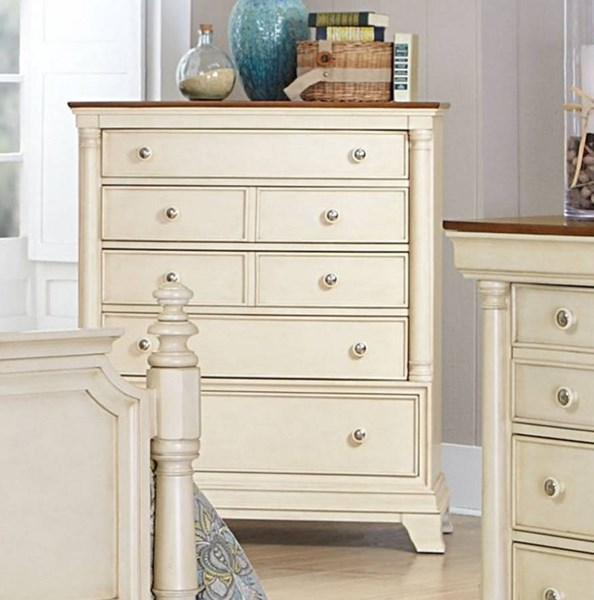 Inglewood II Traditional White Wood Five Drawers Chest HE-1402W-9