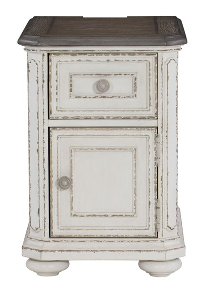 Home Elegance Willowick Antique White Brown Cherry Chairside Table HE-1614-02