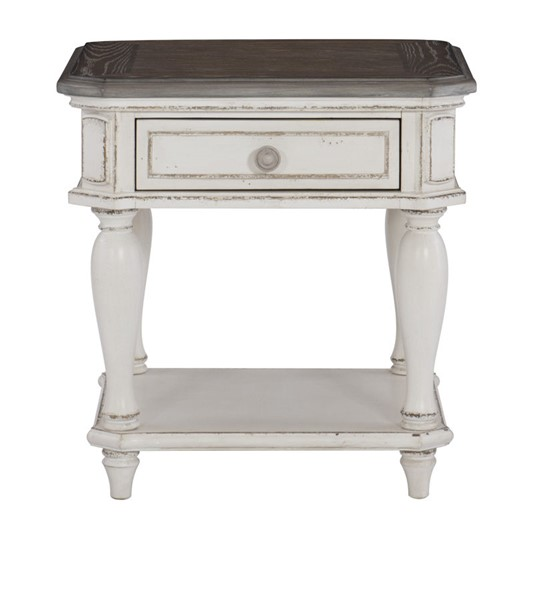 Home Elegance Willowick Antique White Brown Cherry End Table HE-1614-04