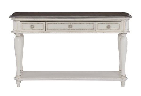 Home Elegance Willowick Antique White Brown Cherry Sofa Table HE-1614-05