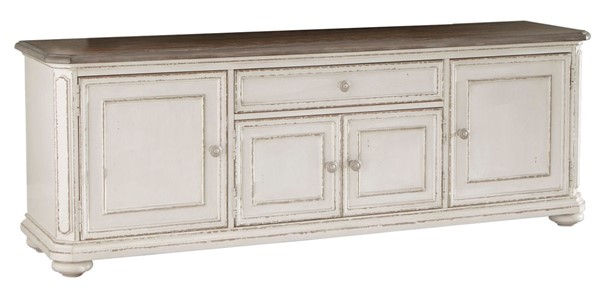 Home Elegance Willowick Antique White Brown Cherry TV Stand HE-16140-72T