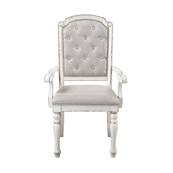 2 Home Elegance Willowick Antique White Gray Arm Chairs HE-1614A