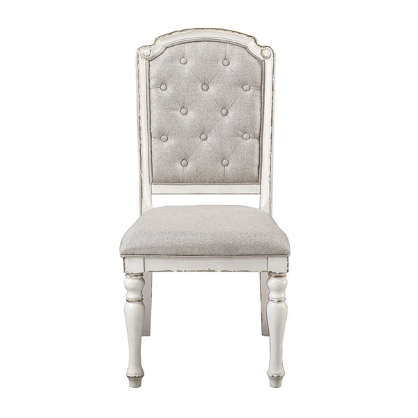 2 Home Elegance Willowick Antique White Gray Side Chairs HE-1614S