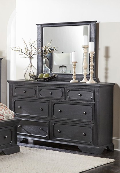 Home Elegance Bolingbrook Wire Brushed Coffee Dresser and Mirror HE-1647-DRMR