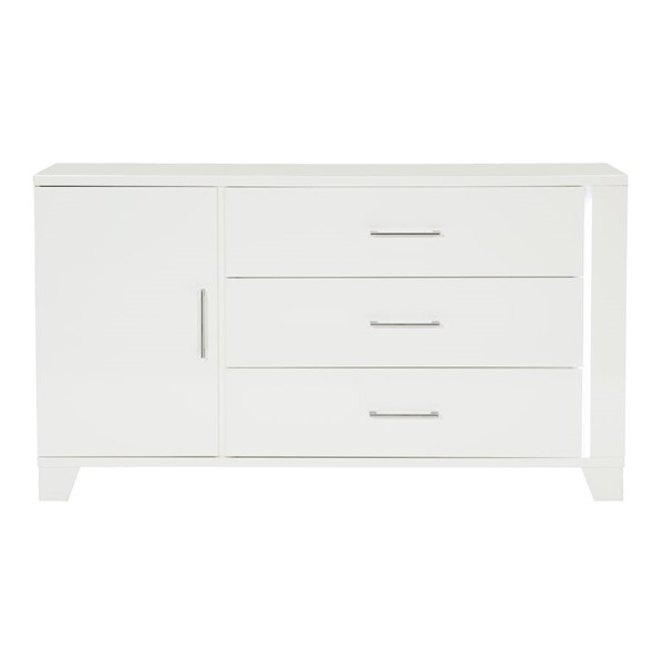 Home Elegance Kerren White High Gloss Dresser HE-1678W-5