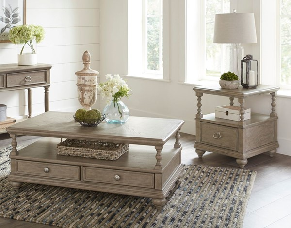 Home Elegance Grayling Downs Driftwood Gray 3pc Coffee Table Set HE-1688-OCT-S1