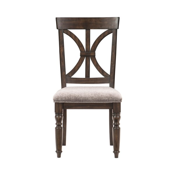 2 Home Elegance Cardano Dark Brown Gray Side Chairs HE-1689S