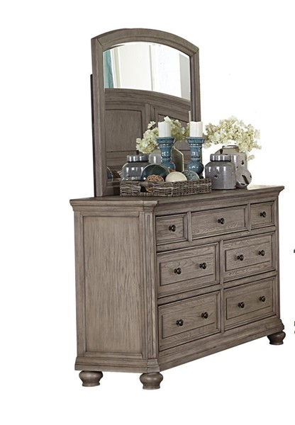 Home Elegance Lavonia Gray Wire Brushed Dresser and Mirror HE-1707-DRMR