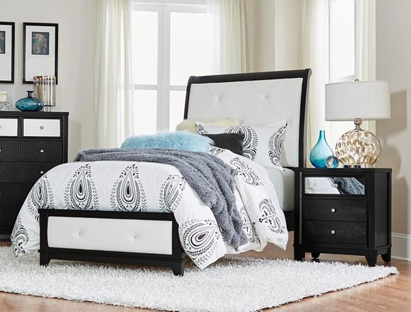 Home Elegance Odelia Black Natural 2pc Bedroom Set with Twin Bed HE-1708-BR-S5