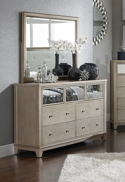 Home Elegance Odelia Natural Dresser and Mirror HE-1708-DRMR
