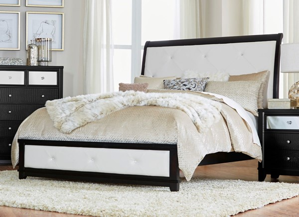 Home Elegance Odelia Black Natural Queen Bed HE-1708BK-1