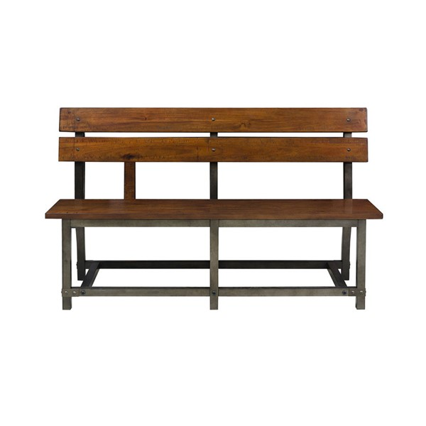 Home Elegance Holverson Rustic Brown Bench with Back HE-1715-BH
