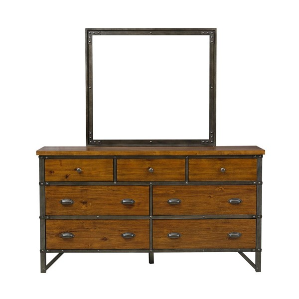 Home Elegance Holverson Rustic Brown Dresser and Mirror HE-1715-DRMR