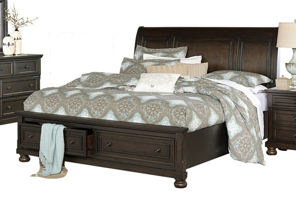 Home Elegance Begonia Gray Queen Platform Footboard Drawers Bed HE-1718GY-1