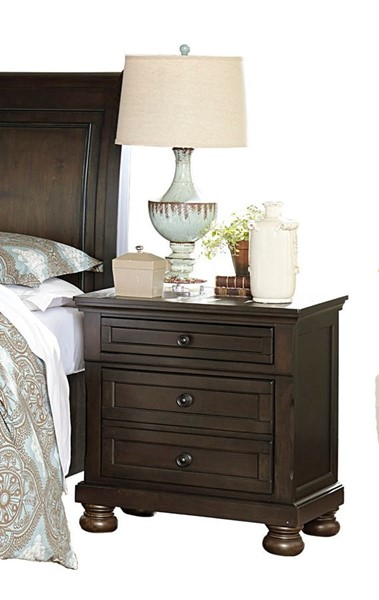 Home Elegance Begonia Gray Hidden Drawer Night Stand HE-1718GY-4