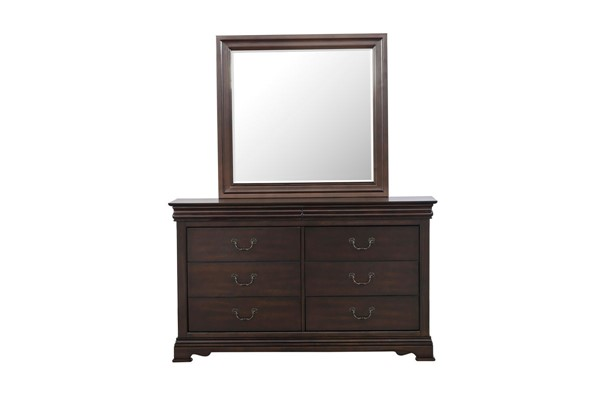 Home Elegance Clematis Cherry Dresser and Mirror HE-1719-DRMR