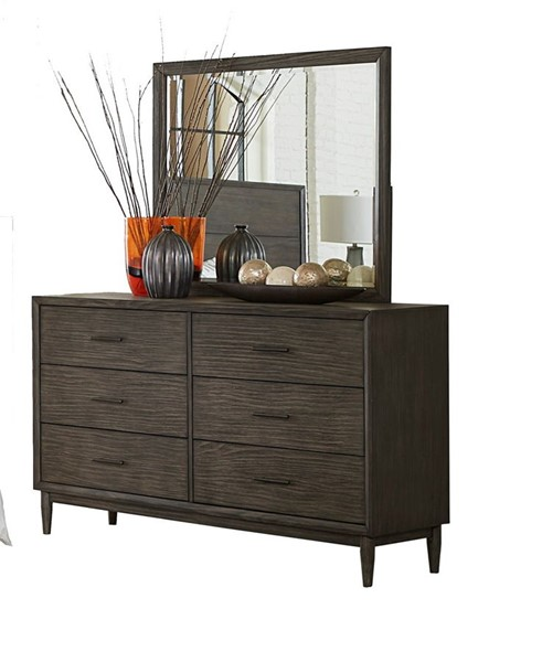 Home Elegance Norhill Wire Brushed Gray Dresser and Mirror HE-1727N-DRMR