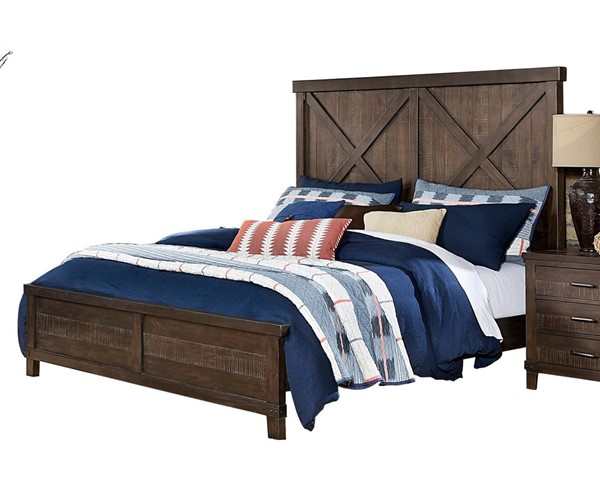 Home Elegance Hill Creek Rustic Brown Queen Bed HE-1728-1