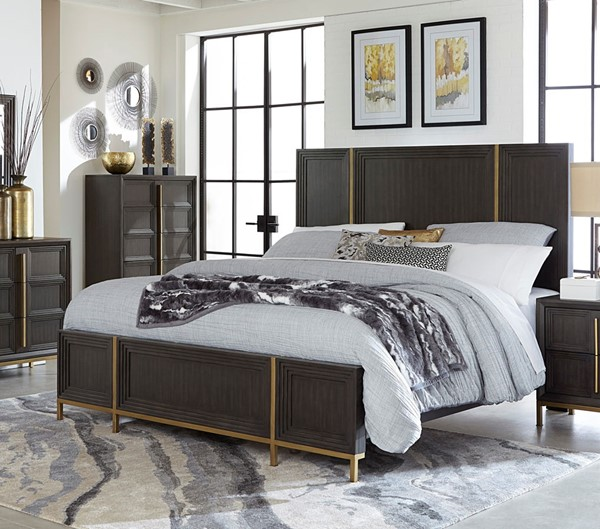 Home Elegance Vargehese Dark Charcoal King Bed HE-1729K-1EK