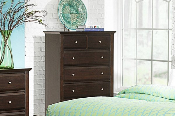 Verano Transitional Rich Espresso Wood Six Drawers Chest HE-1733-9