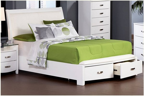 Lyric Contemporary White Wood Sleigh Beds HE-1737W-beds