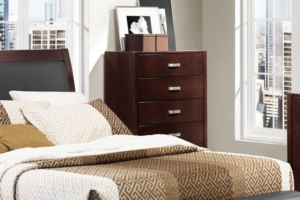 Lyric Contemporary Espresso Wood Five Drawers Handle Chest HE-1737NC-9