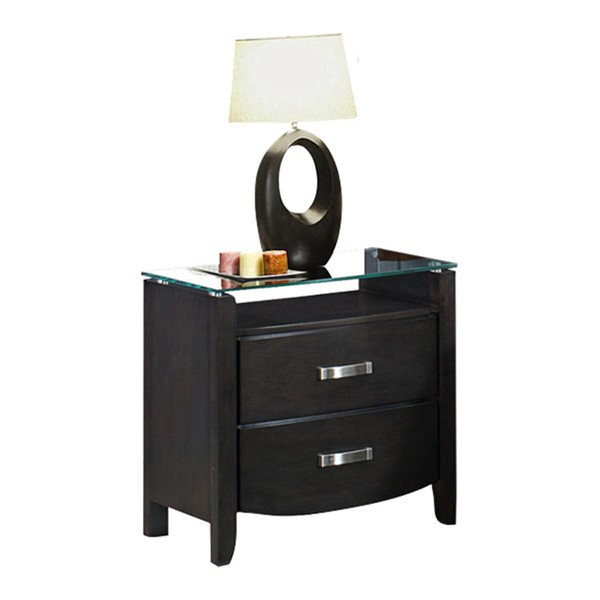 Home Elegance Lyric Grey Night Stand Glass Top HE-1737NGY-4
