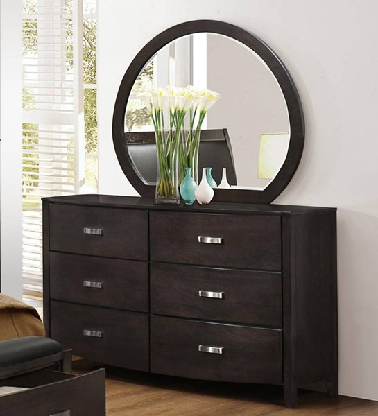 Home Elegance Lyric Grey Dresser and Mirror HE-1737NGY-DRMR