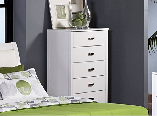 Lyric Contemporary White Wood Five Drawers Handle Chest HE-1737W-9