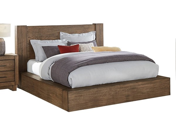 Home Elegance Korlan Brown Oak King Platform Bed HE-1743K-1EK