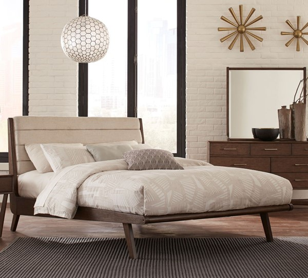 Home Elegance Ruote Brown Gray King Platform Bed HE-1745K-1EK