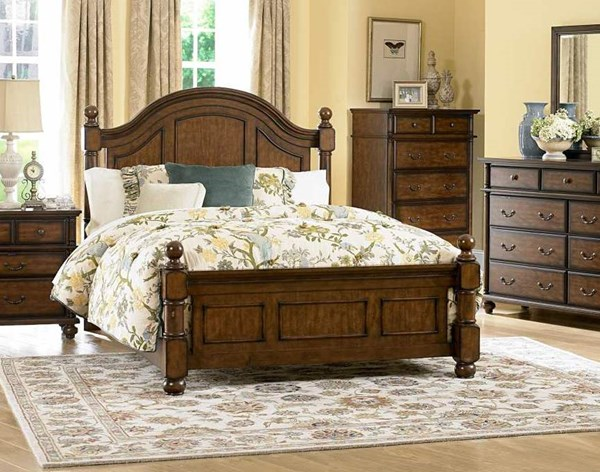 Langston Classic Brown Cherry Wood Queen Poster Bed HE-1746-1