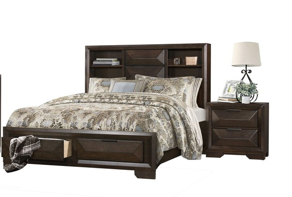 Home Elegance Chesky Warm Espresso 2pc Bedroom Set with Queen Bed HE-1753-BR-S1