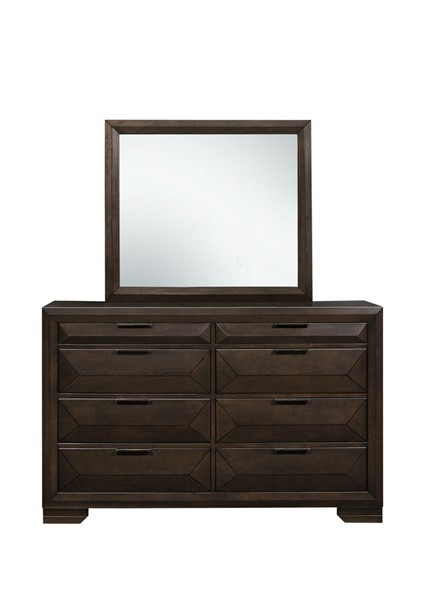 Home Elegance Chesky Warm Espresso Dresser and Mirror HE-1753-DRMR