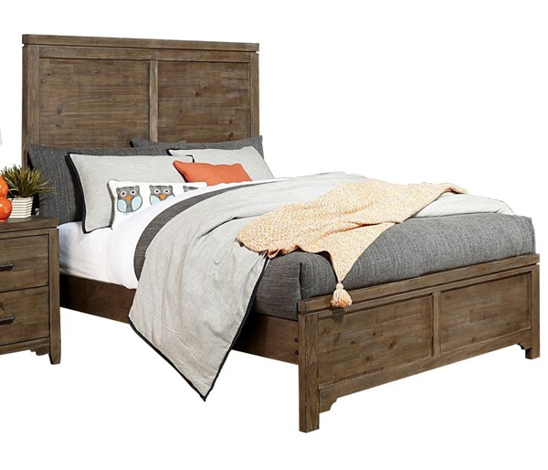 Home Elegance Lyer Rustic Brown Queen Panel Bed HE-1756-1