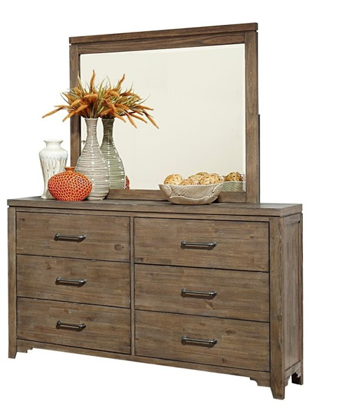 Home Elegance Lyer Rustic Brown Dresser and Mirror HE-1756-DRMR