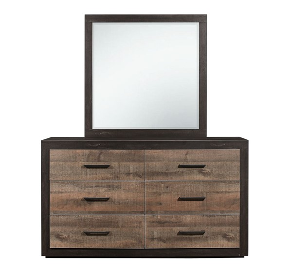 Home Elegance Miter Mahogany Ebony Dresser and Mirror HE-1762-DRMR