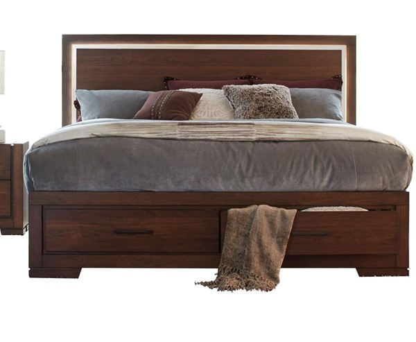 Home Elegance Ingrando Walnut Queen Platform Footboard Storage LED Bed HE-1778-1