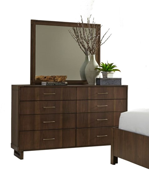 Home Elegance Gulfton Walnut Dresser and Mirror HE-1779-DRMR