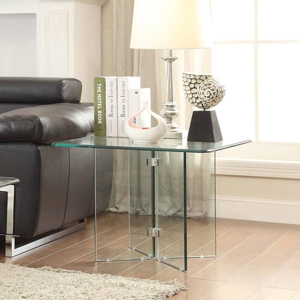 Alouette Modern Metal Glass Square End Table HE-17807