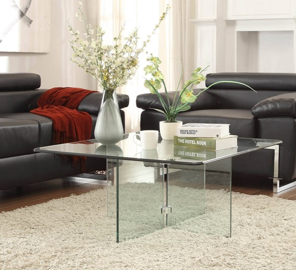 Alouette Modern Metal Glass Cocktail Table HE-17809