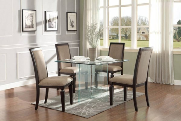 Alouette Dark Grey Square Wood Fabric Glass 5pc Dining Room Set HE-17811-DR-S2