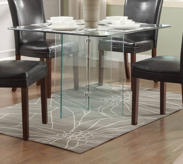 Alouette Classic Dark Grey Square Glass Dining Table HE-17811